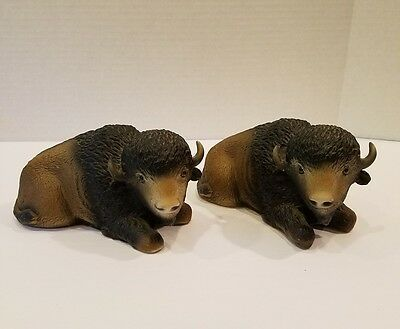Lot Of Two Bison Resin Figurines Made In USA