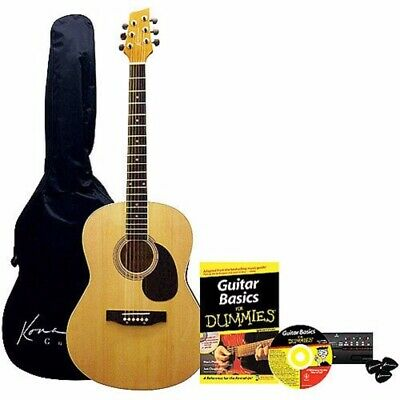 Kona K394D Beginner Acoustic Guitar Pack for Dummies - Guitar, Gig Bag, Tuner
