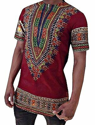 Makkrom Men's African Bright Dashiki Tribal Floral Shirt Variety X-Large, Red