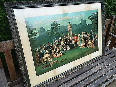 Large Antique Chromolithograph Queen Victoria & Family After Emilie Chaese 1887