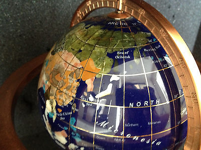 """Lapis GEMSTONE Ocean INLAY 11"""" tall WORLD GLOBE * TABLE TOP Copper STAND Gem Map"""