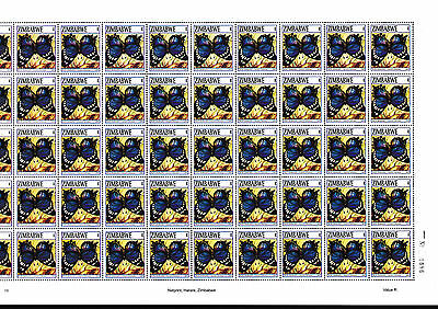 Zimbabwe 2007 Butterflies R-value as Sheet of 50, MNH (No. 0686)