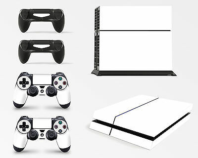 PS4 Console White Colour Skin Decal Vinal Sticker + 2 Controller Skins Set