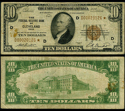 FR. 1860 D* $10 1929 Federal Reserve Bank Note Cleveland Stain Fine Star