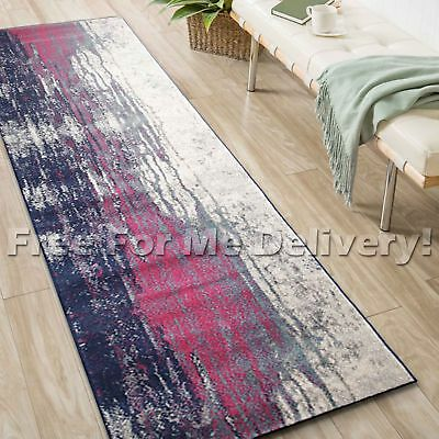 SULIS URBAN PAINTED PINK PURPLE MODERN RUG RUNNER (M) 80x300cm **FREE DELIVERY**