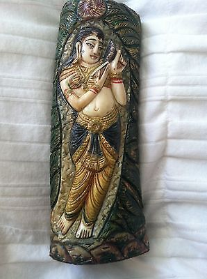 """Exotic Vintage Intricately Carved Goddess Women Figurine 6 1/2"""" Tall"""