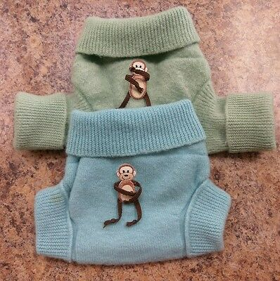 Babyology wool shorties diaper cover wrap soaker doubled Monkey M Lot of 2