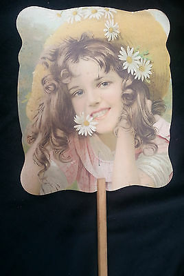 Old Advertising Premium Fan VOUGH Piano Co Waterloo NY Girl Daisies