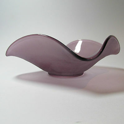 Fabulous Vintage Plum Coloured  Art Glass Bowl Mid Century Made in England