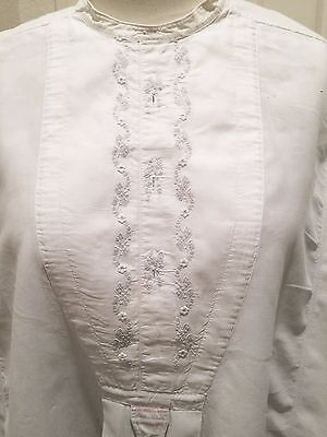 Antique Victorian Edwardian Men's Cotton Formal Shirt Embroidered Germany