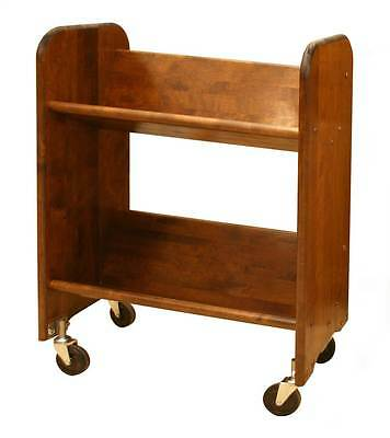 BookMaster Book & Video Cart w Shelves & Walnut Stained Birch [ID 23786]