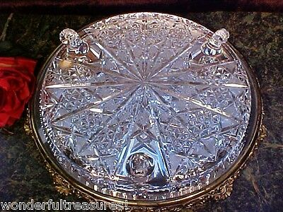 Vintage 60's Hand Cut Crystal Glass Cake Plate 3 Curled Feet Signed WEST GERMANY