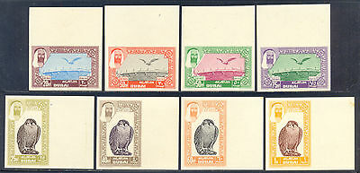 Dubai 1963, Set of 8 Imperforate Air Post Stamps, Peregrine Falcon, NH, SC C1/8