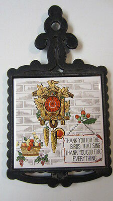 """Vintage Metal & Tile Trivet """"Thank You for the Birds That Sing & Everything"""""""