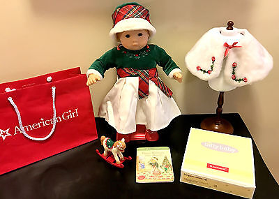 American Girl Bitty Baby Retired Evergreen Christmas Holiday Set & Fur Cape