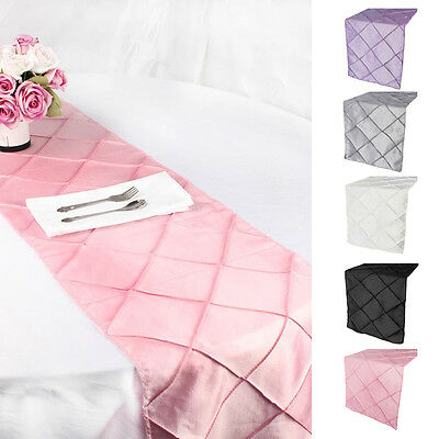 Taffeta Pintuck Table Runner Wedding Party Banquet Decoration Tablecloth 12*108""