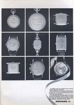 1964 Movado pocket watch  PRINT AD details 8 inscriptions and one watch great ad