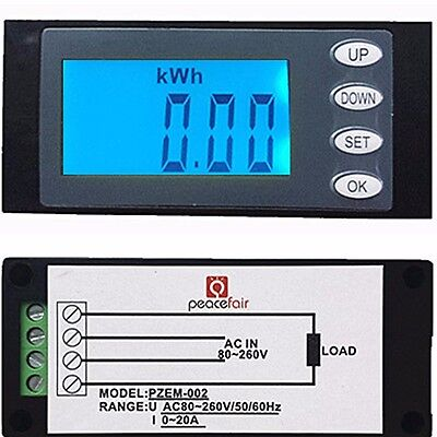 20A AC Digital LED power meter monitor Voltage KWh time watt energy Volt Ammeter