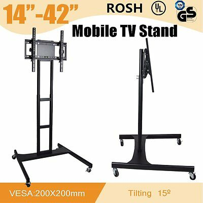 "LED/PLASMA/LCD TV STAND MOUNT BRACKET MOBILE TROLLEY WITH WHEELS 14"" to 42"""