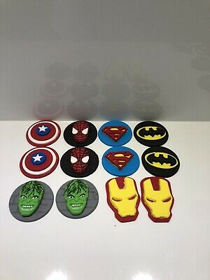 12 x SUPER HERO CUPCAKE TOPPER FONDANT, ICING SUGAR EDIBLE BIRTHDAY PARTY CAKE.