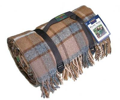 Vicuna Grey Polo Picnic Blanket Wool Waterproof Backing by Tweedmill