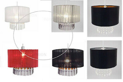Fabric Light Shade Ribbon Ceiling Pendant Crystal Droplet Voile Style Easy Fit