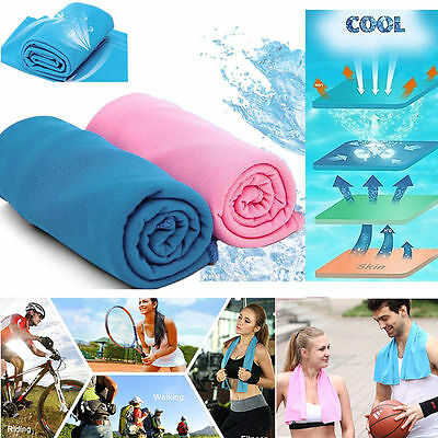 Sports Ice Cold Enduring Running Jogging Gym Chilly Pad No Bottle Cooling Towel