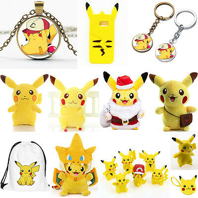Pokemon Pikachu Plush Dolls Stuffed Anime Toys Necklace Pendant Action Figures