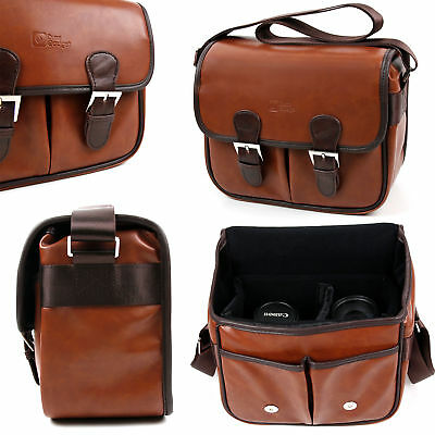 Brown PU Leather Satchel Bag for The Celestron UPCLOSE G2 8X21 ROOF,