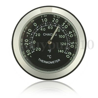 Universal Motorcycle Bike Handlebar Thermometer Dial Temp Gauge Waterproof Black