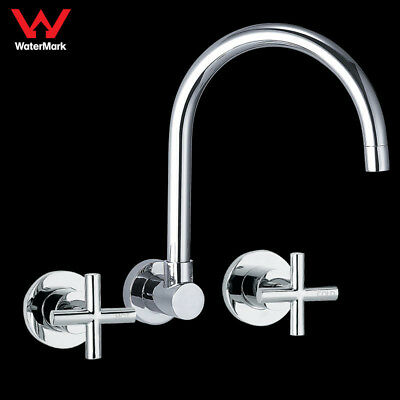 Laundry Kitchen WELS Tigris Wall Sink Tap Set Brass Chrome Full Turn