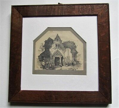 Fine pencil drawing annotated Samuel Prout, 19th century, framed
