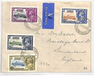 BH13 1935 NORTHERN RHODESIA Air Silver Jubilee Set{4} Broken Hill Cover BANKING