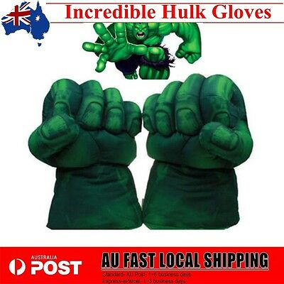 1 Pair Incredible Hulk Gloves Smash Hands Plush Punching Boxing Cosplay Green TT