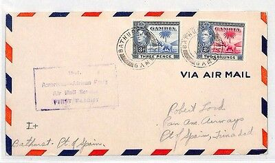 BH17 1942 WW2 GAMBIA Bathurst TRINIDAD Port of Spain Airmail Cover ELEPHANT PALM