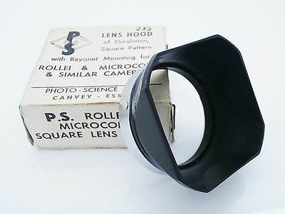 Vintage PS Metal Square Lens Hood Bayonet Mount for Rollei/Microcord Free P&P!