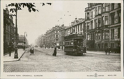 Victoria Road, Crosshill, Glasgow. RP Langside Tram people JE.1834