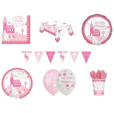 1st HOLY COMMUNION CHURCH PINK/GIRL Party Range -Tableware & Decorations{AMSCAN}