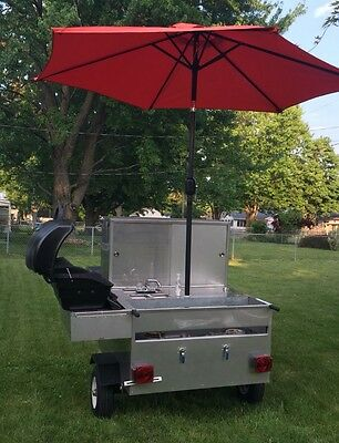 Hot Dog Cart And Grill Stainless Steel Food Concession Cart Excellent Condition