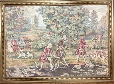tapestry fete gallante Louis xv hunting theme made in italy with frame