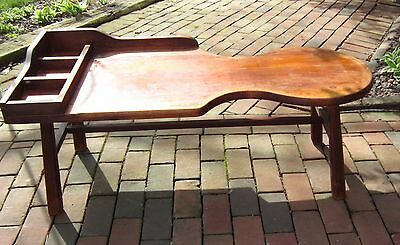 "Antique hard maple wood 43"" COBBLERS BENCH coffee table primitive clean VGC"