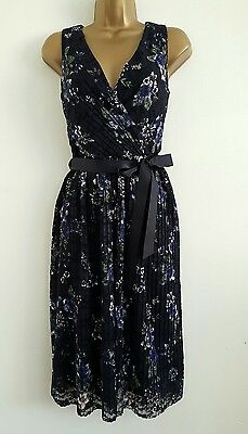 NEW M&Co 8-20 Navy Floral Lace Dress Wedding Summer Evening Tea Party