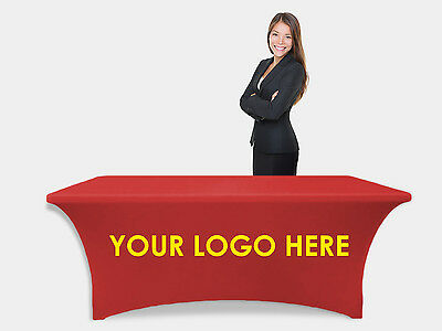Custom Stretch table cloth for trade show, Spandex 6 foot stretch table cover