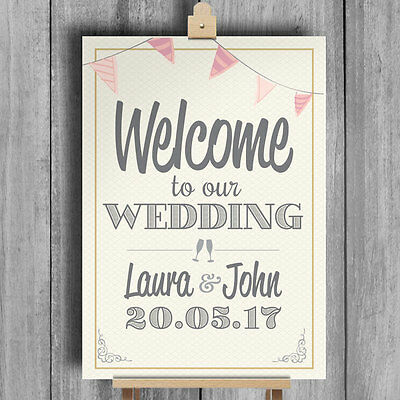 Bunting • Welcome To Our Wedding • Personalised Wedding Sign