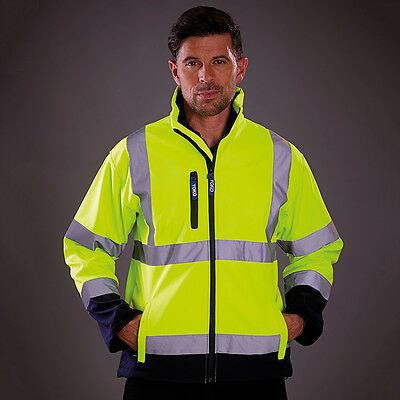 Yoko Hi Vis Corporate Softshell Jacket Waterproof Microfleece Lined (HVK09)