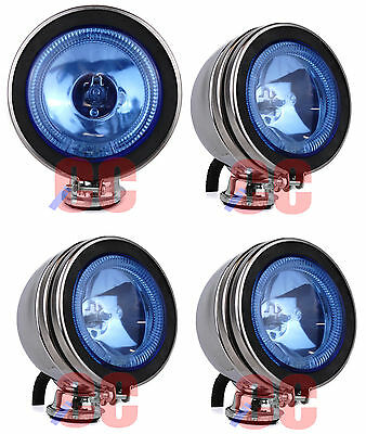 "4 X 4"" 12v Spotlight Halogen Lamp LED Angel Eye Head Light Fog Car Van Blue Set"