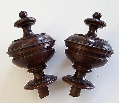 Pair ANTIQUE FRENCH WOOD POST FINIAL END CAP TOPPER Architectural Furniture 5.63