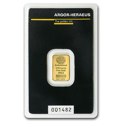 1/10 oz Gold Bar - Argor-Heraeus - SKU #92092