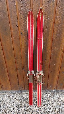 "VINTAGE 55"" Wooden Skis RED Finish  with Metal Bindings"