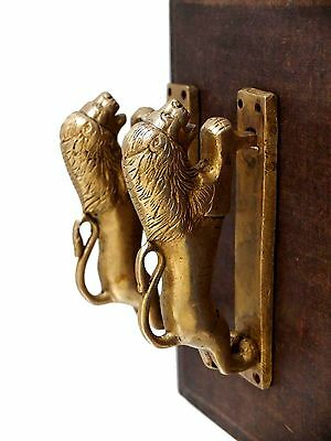 Vintage Antique Style Lion Solid Brass Pair Of Door Handles Pulls